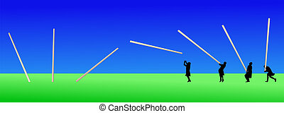 Man tossing the caber - Scottish man in kilt tossing the...