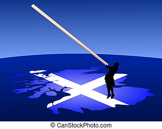 Man with caber on map