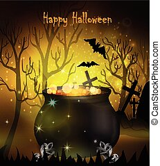 Halloween witches cauldron with green potion and spiders on...