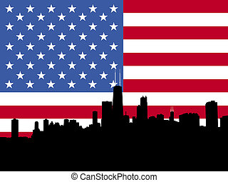 Chicago Skyline with flag - Chicago Skyline with American...