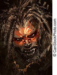 war paint on face - monster portrait showing war paint on...