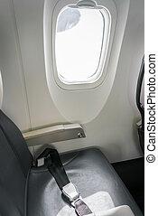 asiento, cinturón, en, avión