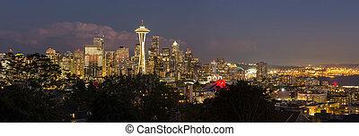 Seattle Washington City Skyline at Dusk Panorama