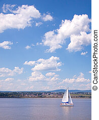 Sailing Boat on the St-Lawrence River near Quebec City