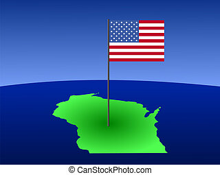 map of Wisconsin with Flag