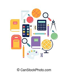 School and background illustration with icons