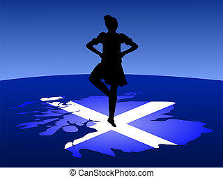 highland dancer on map - highland dancer balancing on map of...