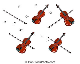 Violin, bow and Notes Set Isolated