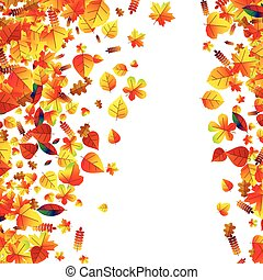 Autumn leaves scattered background Oak, maple and rowan -...