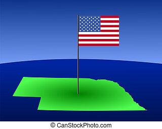 map of Nebraska with Flag