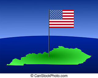 map of Kentucky with flag