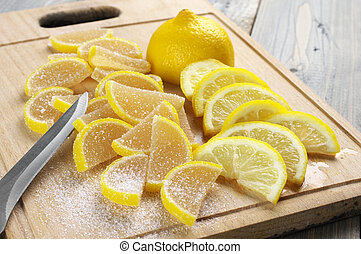 Candied fruit jelly and lemon - Pile of lemon segment shaped...