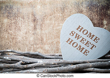 Home. Sweet home. Interior decor. Rustic heart. -...