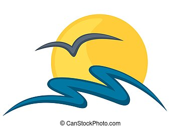 Logo sun and sea. - A logo of dawn sun in the sea with bird.