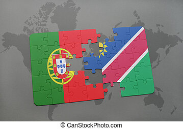 puzzle with the national flag of portugal and namibia on a...