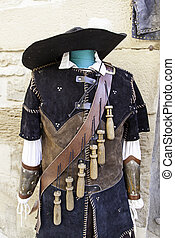 Musketeer old suit, detail of typical warrior attire