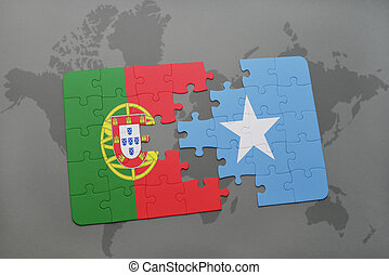puzzle with the national flag of portugal and somalia on a...
