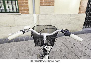 Bicycle handlebar, detail of an urban transport, sport
