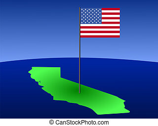 California with American Flag