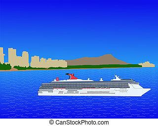 Cruise ship at Waikiki Hawaii