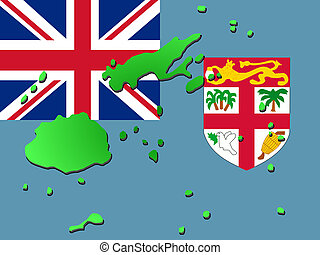 map of Fiji with flag - map of Fiji and Fijian flag...