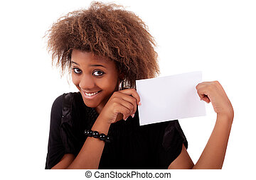 beautiful black woman person with blank business card in...