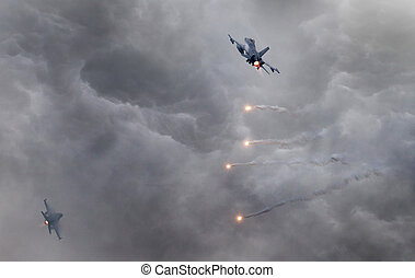 Fighter jets flying fast in the middle of a storm