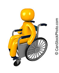 Disable - 3d image, conceptual, disable wheelchair