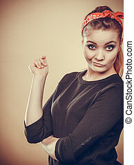 Crazy pin up retro girl making funny face - Craze fun and...