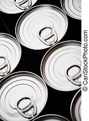 Cans - Closeup of a group of aluminium cans