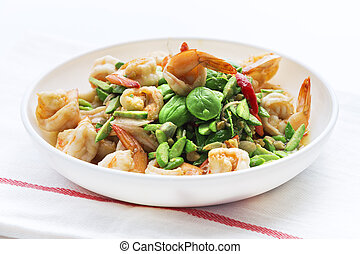 Stink Beans or Sato fried with Shrimp thai local food in...