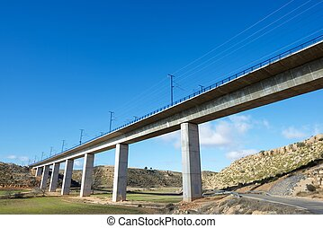 Viaduct - view of a high-speed viaduct in Alconchel de...