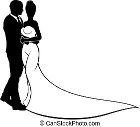 Bride and Groom Couple Wedding Silhouette - Bride and groom...