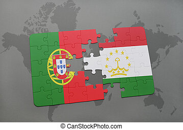 puzzle with the national flag of portugal and tajikistan on...