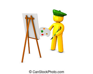 Painter1 - 3d image, conceptual portrait painter