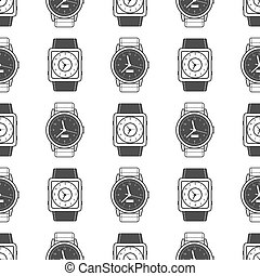 Geometric seamless pattern with watches vector illustration