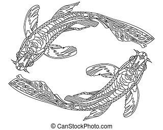 Koi carp fish coloring book for adults vector illustration....