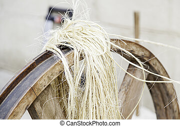 Old spinning wheel, detail of classical tool, tradition
