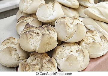 Artisan bread buns, detail of basic food