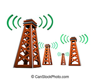 Signal tower - 3d image, Radio broadcast tower