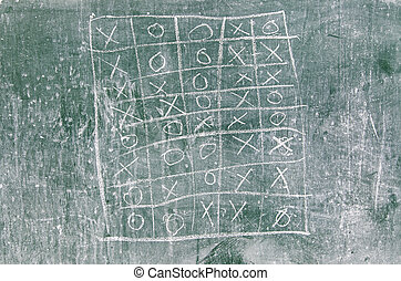 Tic Tac Toe on a blackboard, detail of a game of...