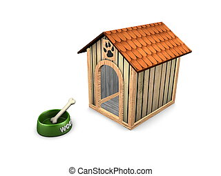 3d image, empty dog house