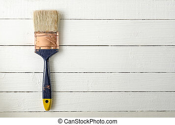 paint brush - Old paint brush on wooden background