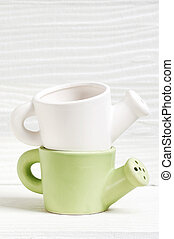 ceramic watering pot - White and green ceramic watering pot...
