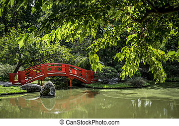 Japanese public garden in Toulouse in France Europe
