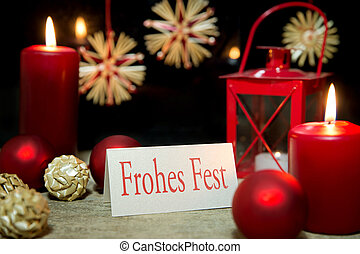 red christmas greeting card with german text, happy holiday