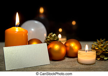orange christmas card with empty sigh, black background,...