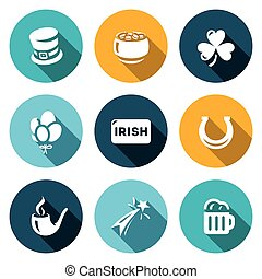 Vector Set of Ireland Icons. Irish country. Cylinder, Pot Gold, Clover, Balloons, Horseshoe, Pipe, Fireworks, Beer.