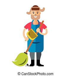 Vector Janitor. Flat style colorful Cartoon illustration. -...