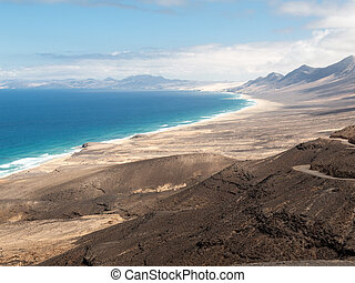 Cofete beach, view from Jandia peninsula, Fuerteventura,...